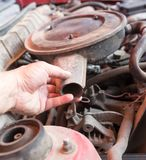 Motor and hoses under the hood of car Stock Image