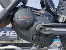 Bosch Motor Hybrid Electric Bike. Detail of hybrid electric bike motor royalty free stock image