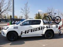 Motor Hybrid Electric Bike. Haibike hybrid electric bike ready to go on the trackn stock photo