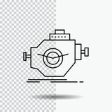 Motor, indústria, máquina, motor, linha ícone do desempenho no fundo transparente Ilustra??o preta do vetor do ?cone ilustração royalty free