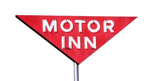 Motor Inn Isolated. This is a retro sign for an old motor inn hotel motel isolated on white Royalty Free Stock Image