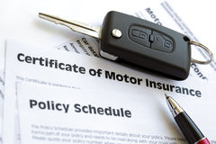 Motor insurance certificate with car key. Certificate of motor insurance and policy schedule with car key