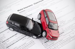 Motor insurance claim form. Car crash and protection concept Royalty Free Stock Photography