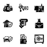 Motor insurance icons set, simple style royalty free illustration