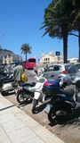Motor in italy. Palermo by side on the road the moto Stock Photography