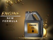 Motor?l-Anzeigenhintergrund Vektorillustration mit realistischem Kanister und Motoren?l auf hellem Hintergrund 3d vektor abbildung