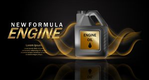 Motor?l-Anzeigenhintergrund Vektorillustration mit realistischem Kanister und Motoren?l auf hellem Hintergrund 3d stock abbildung