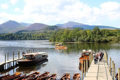 Motor Launch on Derwentwater arriving at Keswick Royalty Free Stock Photo