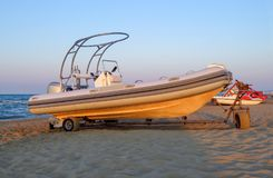 Motor lifeboat on the beach Royalty Free Stock Image