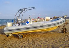 Motor lifeboat on the beach Stock Image