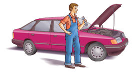 Motor mechanic. The mechanic in front of the car Stock Photo