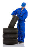 Motor mechanic with a tyre Royalty Free Stock Photo