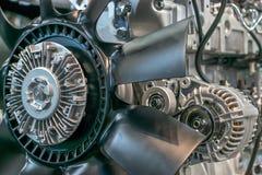 Motor met ventilatorpropeller voor luchtkoeling in de fabriek Stock Foto's