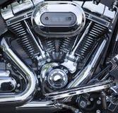 motor motorcykel polerat tvilling- v Royaltyfri Bild