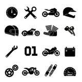 Motor, motorfietsras en vervangstukken vectorpictogrammen royalty-vrije illustratie