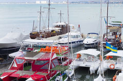 Motor- och seglingyachter Royaltyfria Foton