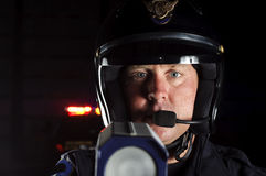 Motor officer. A police motorcycle officer in the night Stock Images