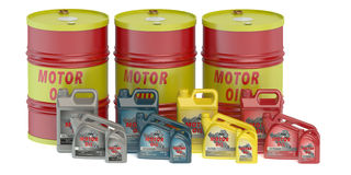 Motor oil barrels and canisters Royalty Free Stock Photo