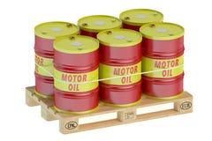 Motor oil barrels on pallet Stock Photos