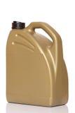 Motor oil canister. Golden motor oil canister. on white background stock photography