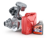 Motor oil canister and jerrycan. Stock Image