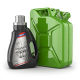 Motor oil canister and jerrycan of petrol or gas. Royalty Free Stock Image