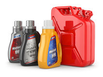 Motor oil canister and jerrycan of petrol or gas. stock illustration