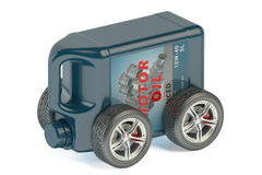 Motor Oil Canister on Wheels Stock Photos