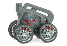 Motor Oil Canister with Wheels Stock Photo