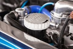 Motor oil cap under the hood of a car Royalty Free Stock Images