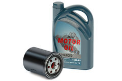 Motor oil and oil filter Royalty Free Stock Photo