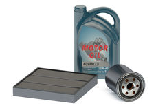 Motor oil and oil filters Royalty Free Stock Image