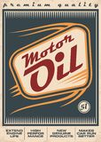 Motor oil retro vector poster design. Concept with creative typo and motion trails on old paper background vector illustration