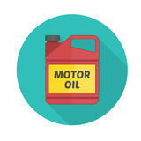 Motor oil vector icon. Picture of motor, engine oil tank, flat style icon with long shadow. Service concept and repair. Engine oil canister royalty free illustration