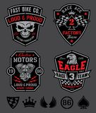 Motor patches emblem set. Original motor sport-inspired emblem patch set with coordinating icon elements. Available in eps vector for easy editing stock illustration