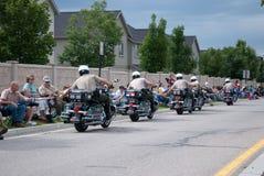 Motor-politie Hoge fiving menigte Royalty-vrije Stock Foto's