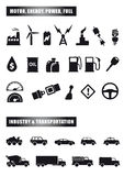 Motor and power icons. Set of black icon silhouettes of motor, fuel, power, transportation, industry and energy Stock Image