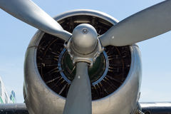 Motor Pratt & aviões da vespa do gêmeo de Whitney R-1830-S1C3G de um avião de passageiros Douglas DC-3 Imagem de Stock Royalty Free