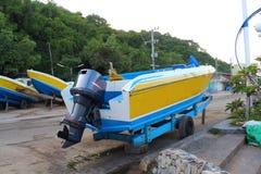 Motor propeller of Speed boat Royalty Free Stock Photo