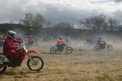 Motor-race. Motorcycle races. Cross-country. Start Stock Images
