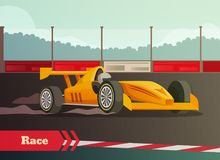 Motor Race Flat Composition. Racing flat background with images of fast racing car and driver on race track with kerbsides vector illustration Stock Photography