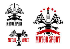 Motor race icons with trophy and spark plug Royalty Free Stock Photography