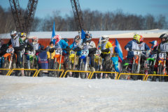 Motor racers at the start Royalty Free Stock Photo