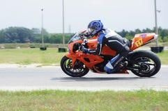 Motor racing. Orange Honda sport bike on Hungarian racetrack royalty free stock image
