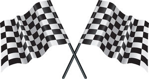 Motor racing checkered, chequered flag. Crossed falgs representing sport or finishing lines Stock Photos
