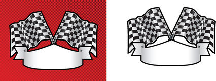 Motor racing checkered, chequered flag background. Checkered cross finishing line racing flags on background with scroll space for message Stock Image