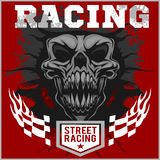 Motor racing demon - emblem for t-shirt Stock Photo