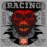 Motor racing demon - emblem for t-shirt Stock Images