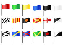 Motor Racing Flags. Complete set of motorcycle, go-cart and car circuit racing flags Royalty Free Stock Image
