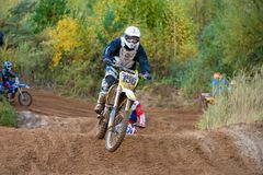 Motor Racing. SERPUKHOV, RUSSIA - OCTOBER 7, 2017: Emel`yanov Evgeniy 156, Class Hobby MOTOCROSS, in the 4 stage MX series, the Red Wings Cup 2017 super country stock photo